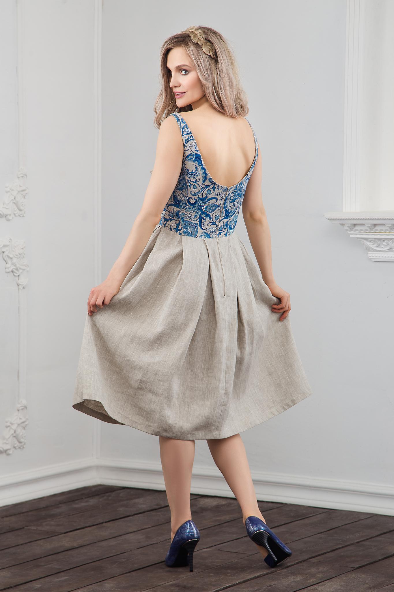 Вид сзади Платье Иванка с гжелью
