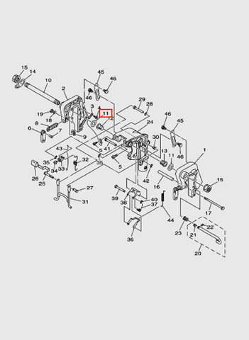 Шайба кронштейна лодочного мотора T15, OTH 9,9 SEA-PRO (13-11)