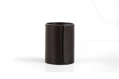 Стакан Н12 кожа Cuoietto (Италия) цвет темно-коричневый шоколад.
