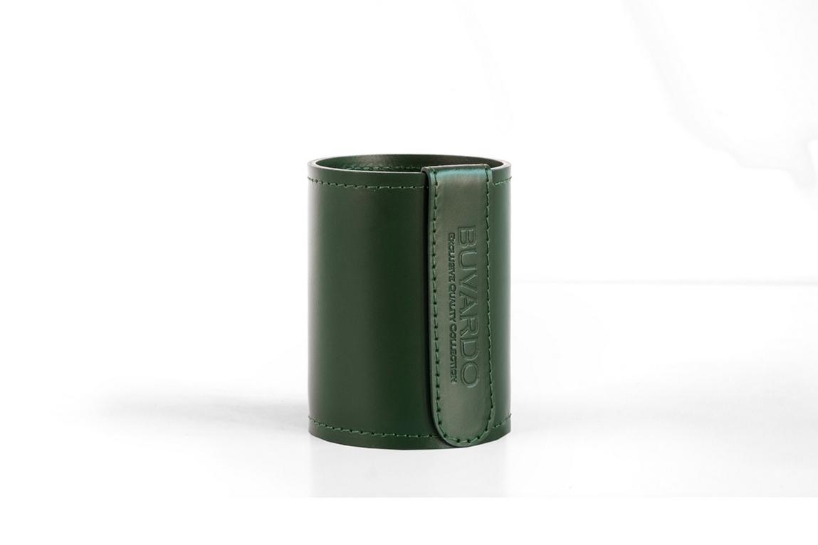 Стакан Н12 кожа Cuoietto (Италия) цвет зеленый.