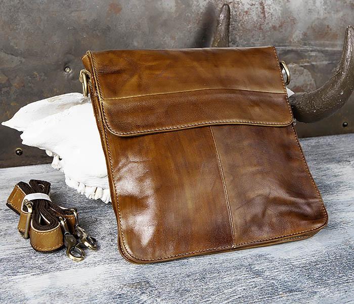 BAG441-2 Мужская сумка из гладкой кожи с ремнем на плечо фото 03
