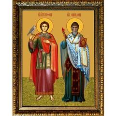 Спиридон Тримифунтский и Трифон Апамейский. Икона на холсте.
