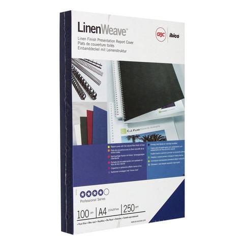 Обложки для переплета картонные GBC синие лен, А4, 250г/м2, 100шт/уп.