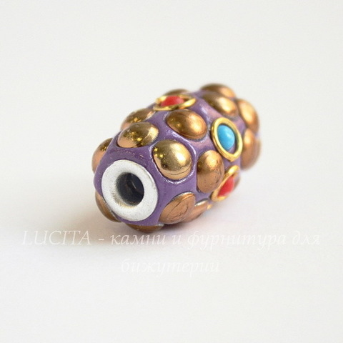 """Бусина """"Индонезийская"""" ручной работы фиолетовая с золотым, 26х15 мм"""