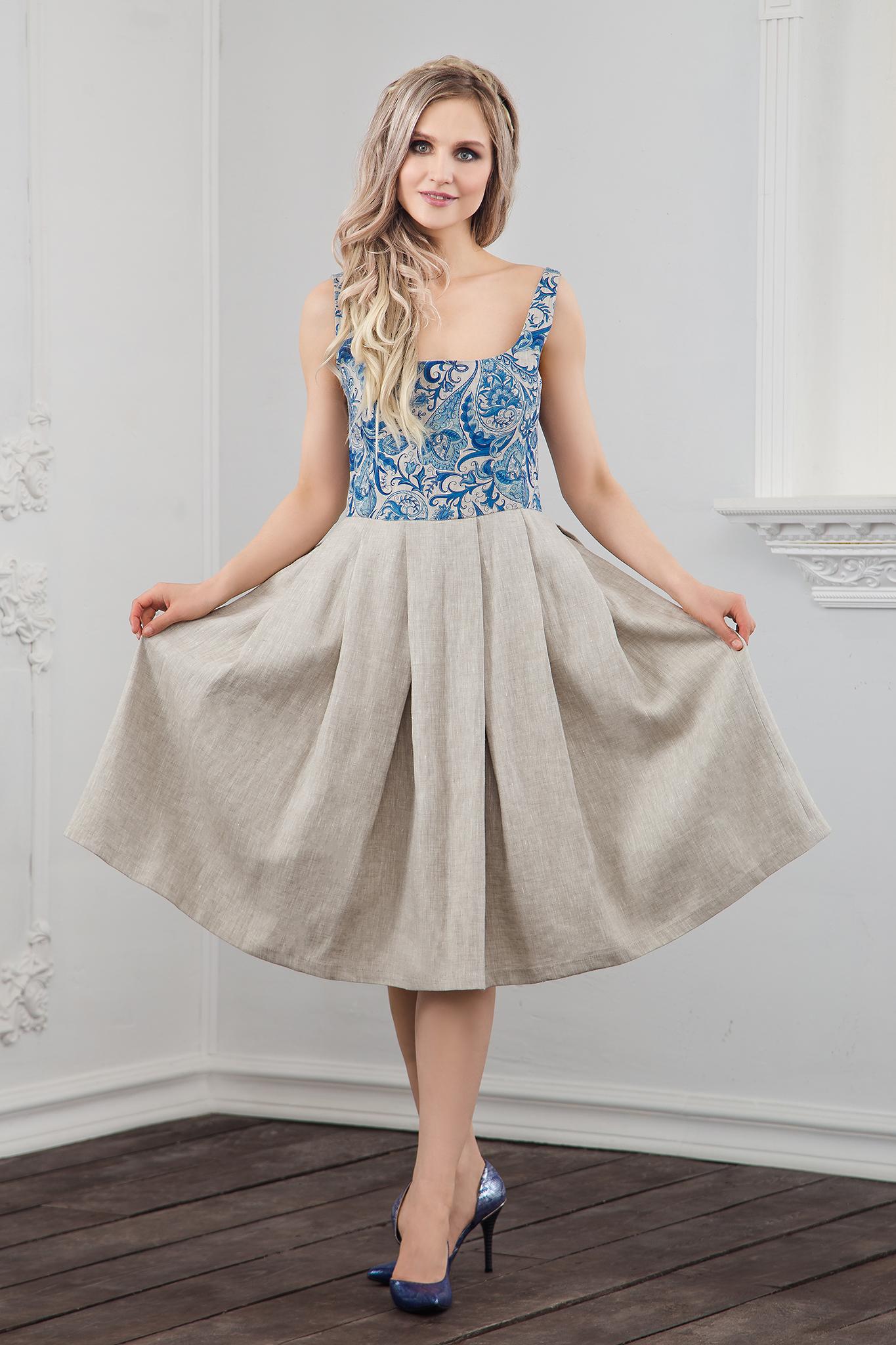 Платье Иванка с гжелью