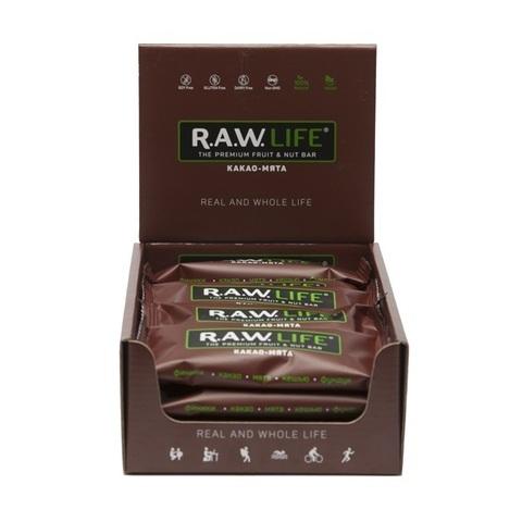 Батончик натуральный R.A.W. LIFE Chocolate Какао и Мята коробка 20 шт.