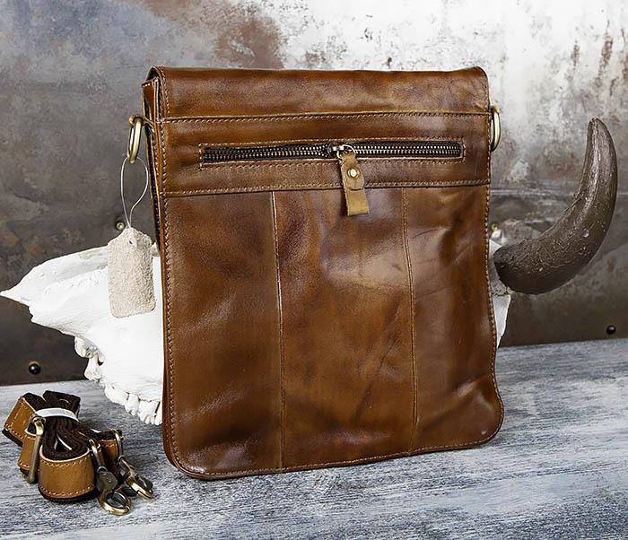 BAG441-2 Мужская сумка из гладкой кожи с ремнем на плечо фото 04