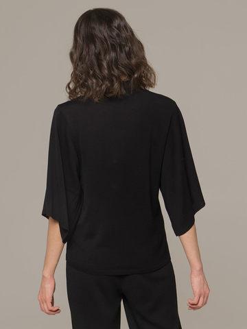Женский черный джемпер на молнии с короткими рукавами - фото 2