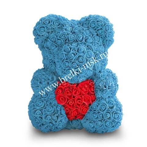 Голубой мишка из 3D роз с сердцем 40 см.