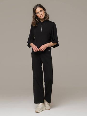 Женский черный джемпер на молнии с короткими рукавами - фото 3