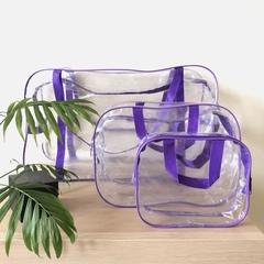 Прозрачная сумка в роддом с 2 косметичками, фиолетовая, вид 3