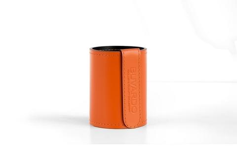 Стакан Н12 кожа Cuoietto (Италия) цвет оранжевый/шоколад.