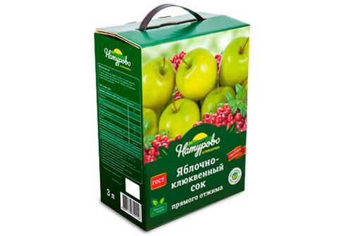 Сок яблочно-клюквенный прямого отжима, 3л