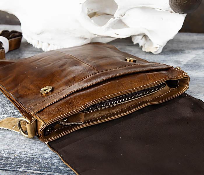 BAG441-2 Мужская сумка из гладкой кожи с ремнем на плечо фото 06
