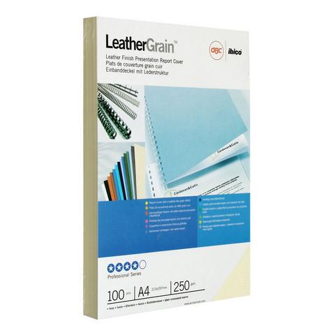 Обложки для переплета картонные GBC сл.кость кожа, А4, 250г/м2,100шт/уп.