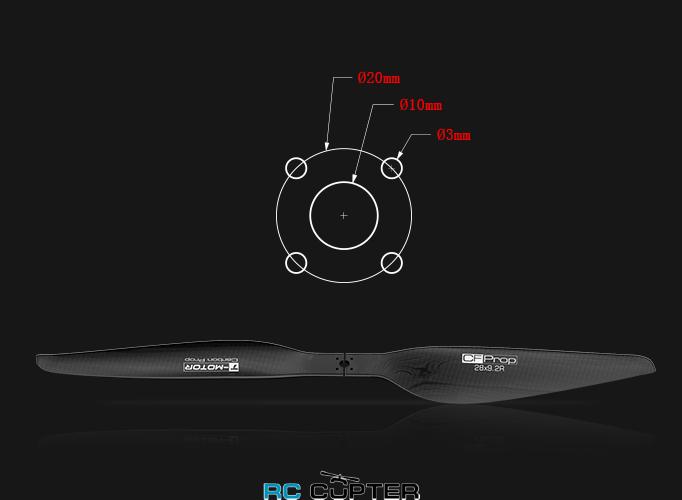 Отверстия в propeller-karbonovyy-sostavnoy-g-28x92-t-motor-para