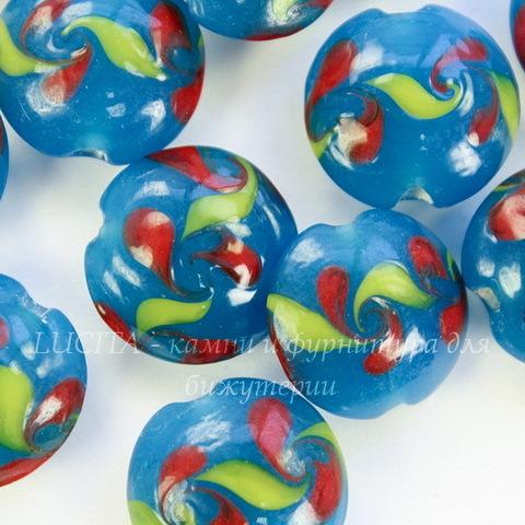 Бусина Лэмпворк круглая плоская синяя с рисунком 15-16х8-10 мм