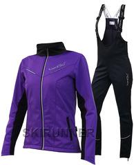 Детский утеплённый лыжный костюм Nordski Premium 2018 Violet-black с высокой спинкой