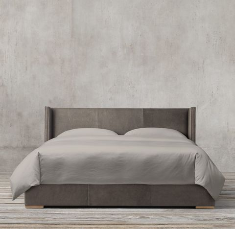 Lawson Shelter Non-Tufted Leather Bed With Nailheads
