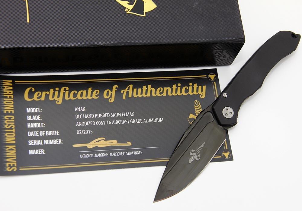 Нож Marfione Custom Anax ELMAX DLC Hand Rubbed Satin