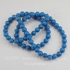 Бусина Бирюза (искусств), шарик, цвет - голубой, 6 мм, нить