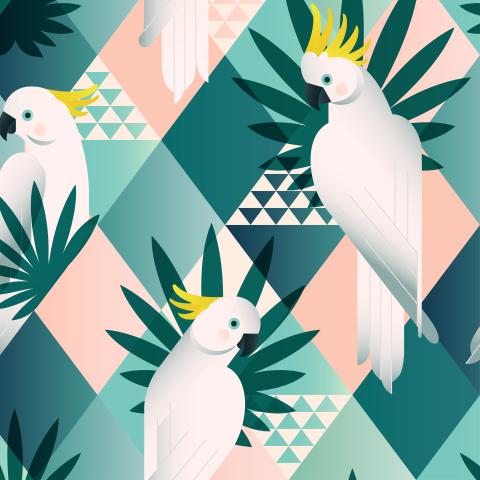 Белые геометрические какаду и тропические листья на ромбах