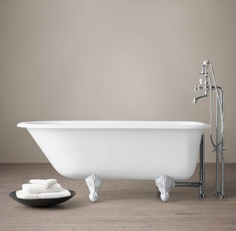 Classic Victorian Clawfoot Tub with Cross-Handle Tub Fill - White Feet