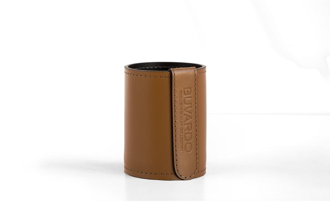 Стакан Н12 кожа Cuoietto (Италия) цвет табак/шоколад. Фото 2.