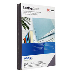 Обложки для переплета картонные GBC т-серые кожа, А4, 250г/м2, 100шт/уп.