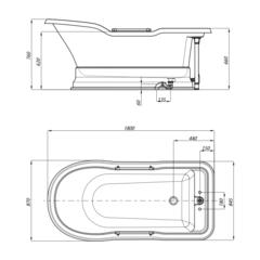 Ванна Migliore Impero Podium 25811 180x87хH76 см. белая, подиум белый бронза схема
