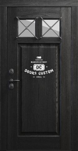 Входная дверь «Loft 8» в цвете, сосна пепельная с патиной (массив сосны)