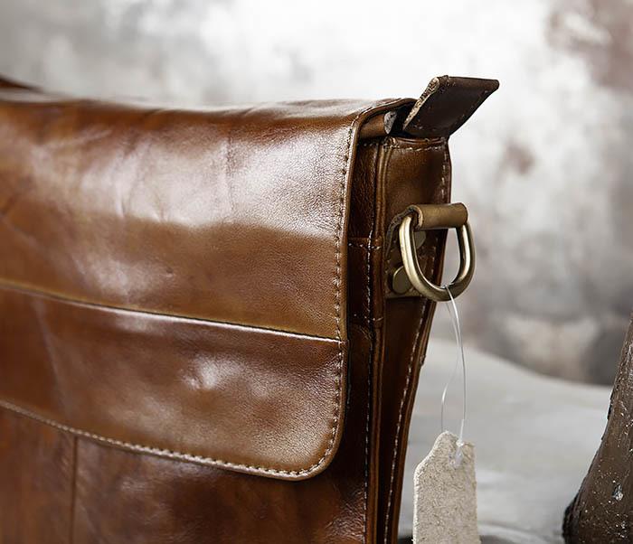 BAG441-2 Мужская сумка из гладкой кожи с ремнем на плечо фото 09