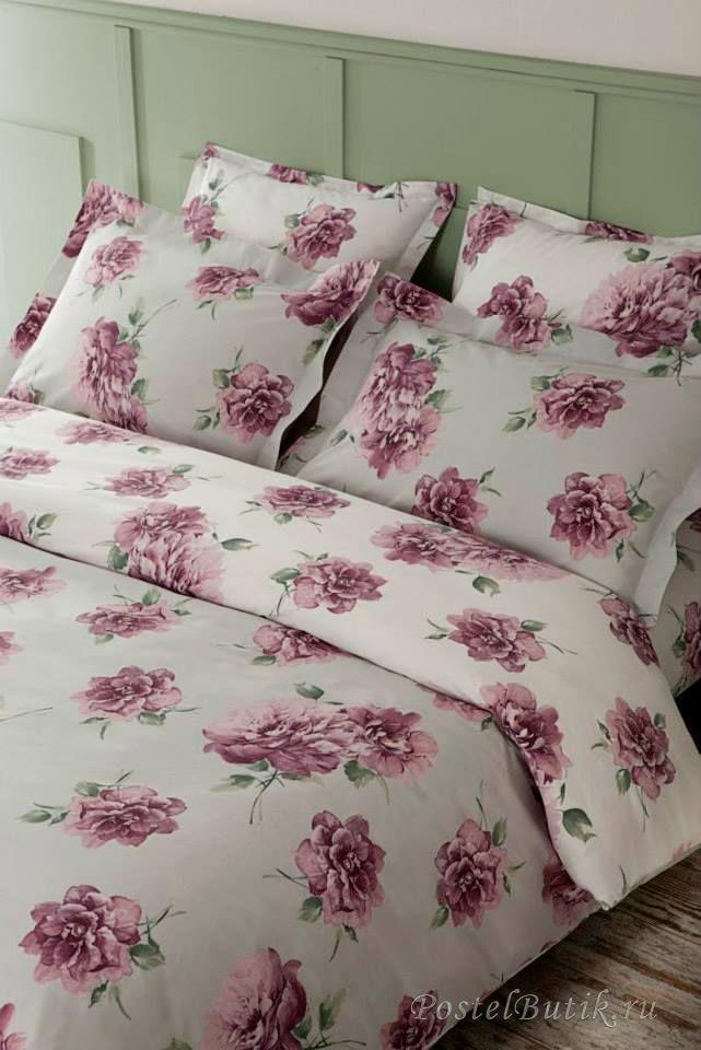 Постельное белье 2 спальное евро Mirabello Queen Rose сиреневое