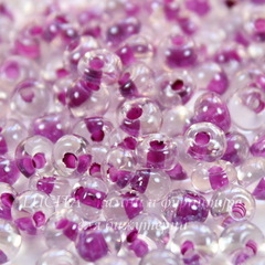 38628/ Бисер Preciosa Дропс (Drops) 5/0 Кристалл блестящий с фиолетовым центром