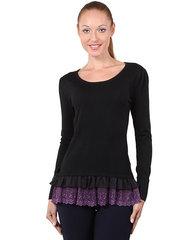 8897-3 кофта женская, черно-фиолетовая