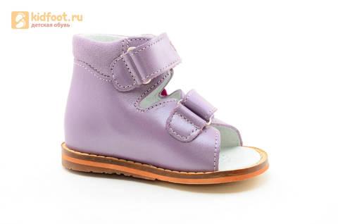 Босоножки на первый шаг Тотто из натуральной кожи на липучках для девочки, цвет сирень. Изображение 2 из 16.