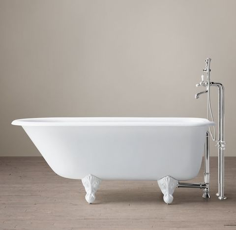 Classic Victorian Clawfoot Tub with Lever-Handle Tub Fill - White Feet