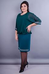 Алмаз. Нарядное платье больших размеров. Изумруд.