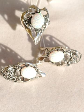 Лебедь (кольцо + серьги из серебра)