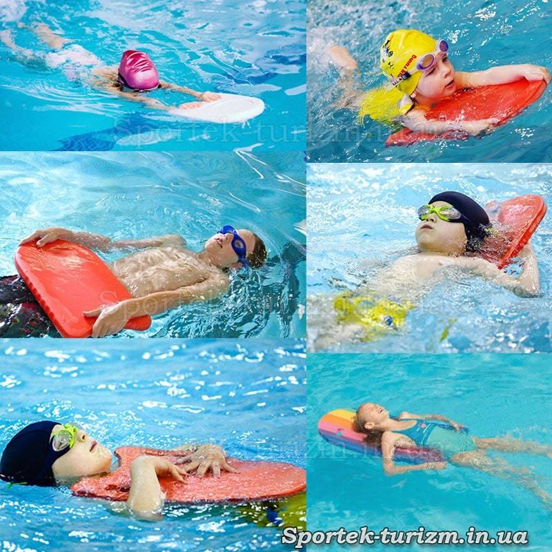 Варианты применения досок при обучении плаванию