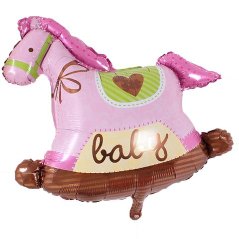 Фольгированный шар «Лошадка»,розовая 91 см