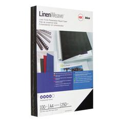 Обложки для переплета картонные GBC черные лен, А4, 250г/м2, 100шт/уп.