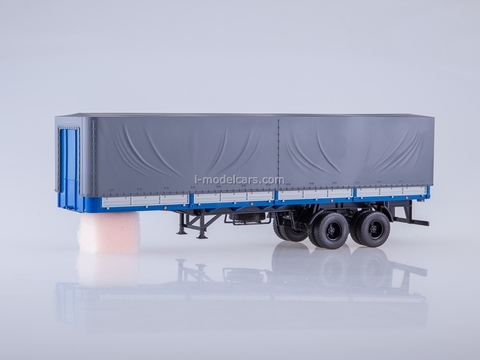Semitrailer two-axle board MAZ-93971 blue-gray 1:43 AutoHistory