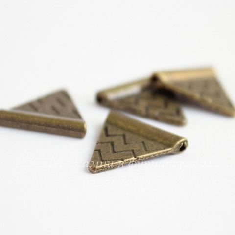 """Бусина металлическая """"Треугольник"""" (цвет - античная бронза ) 14х14 мм, 10 штук"""