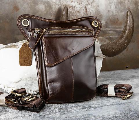 Набедренная кожаная сумка коричневого цвета