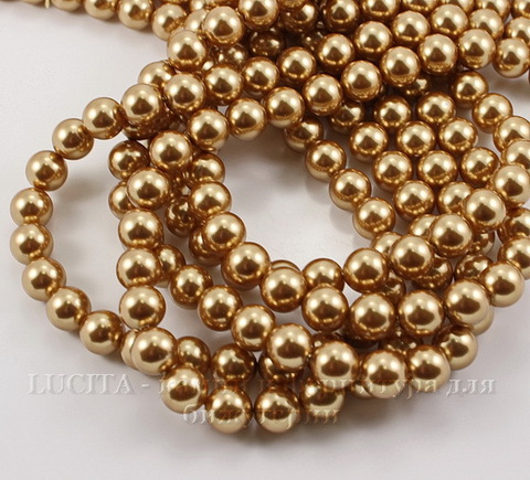 5810 Хрустальный жемчуг Сваровски Crystal Bright Gold круглый 10 мм (Crystal Bright Gold 1)
