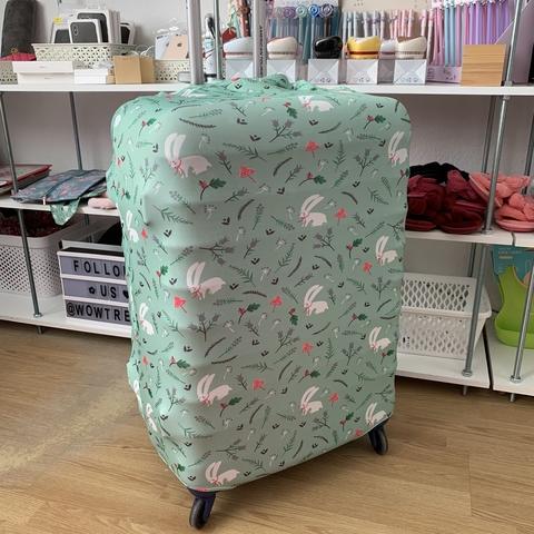 Чехол на чемодан /зеленые кроли/ L size