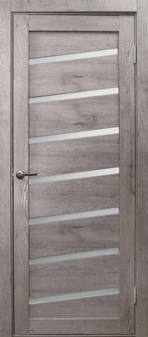 Дверь Эколайт Дорс Диагональ, стекло белое матовое, цвет дуб дымчатый, остекленная