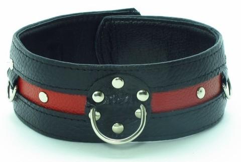 БДСМ Ошейник для девушки черно красный на пряжке (BDSM Арсенал)