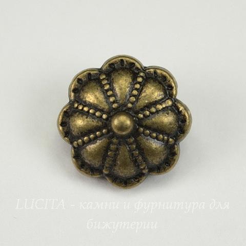 "Бусина металлическая ""Цветок"" 14х8 мм (цвет - античная бронза)"